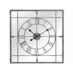 Grey Framed Mirrored Square Wall Clock